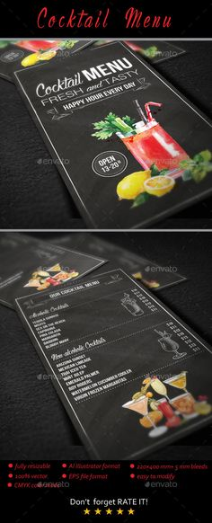 Cocktail Menu Template Vector EPS, AI Illustrator