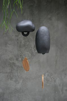 Terracotta Wind Chime Black Clay Color by JagDin on Etsy, $45.00