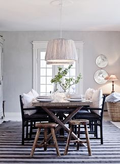 Pillows on the chairs in a dining room - TineK Home / Mrs Jones Dining Room Design, Dining Table, Decor, House Interior, Dinning Room, Home, Interior, Rustic Dining Table, Home Decor