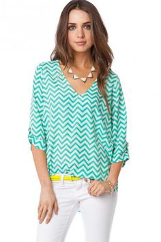 V Neck Zig Zag Blouse in Seawave - ShopSosie.com
