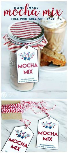 Hello, Skip to My Lou readers! I'm sharing this Easy Mocha Mix Gift Idea for simple homemade gifts you can give to friends and neighbors! Jar gifts make wonderful neighbor gifts. Simple holiday gifts that Easy Homemade Christmas Gifts, Homemade Food Gifts, Edible Gifts, Mocha Mix Recipe, Homemade Mocha, Free Printable Gift Tags, Meals In A Jar, Jar Gifts, Coffee Recipes