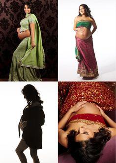 Bay Area Studio Fine Art Maternity Portraits with Saris