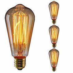 KINGSO 3pcs ST64 Vintage lampadina con gabbia filamento, 60W Dimmerabile Edison Lampadina Retro Stile Incandescente Vite E27 [Classe di efficienza energetica A] [Classe di efficienza energetica A+]