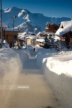 Alpe d'Huez ~ French #Alps. Beautiful, but we don't envy the guy whose job it is to shovel.