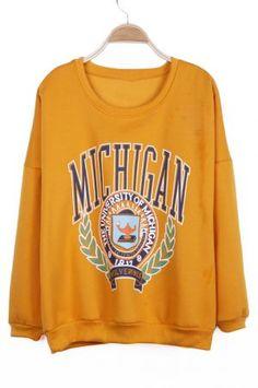 355ed42c13042 Yellow THE UNIVERSITY OF MICHIGAN Print Pullover Sweatshirt Vintage College  Sweatshirts