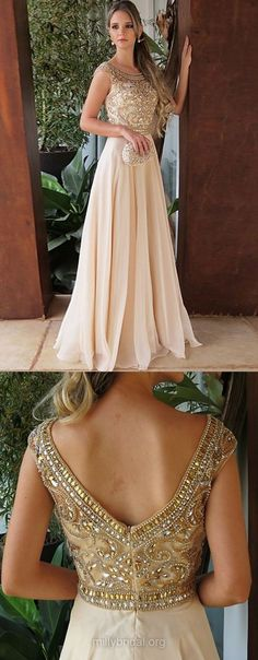 Long Prom Dresses, Champagne Prom Dresses For Teens, A-line Prom Dresses Scoop Neck, Chiffon Tulle Prom Dresses with Beading #partydresses