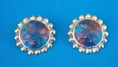 vintage Multi color round with gold tone metal accent Pierced earrings NR #Unbranded #Stud