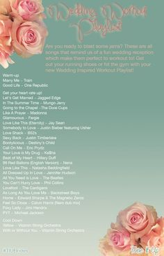Your New Wedding Inspired Workout Playlist!! This fun playlist is sure to get you in the mood for love and it's great for any workout ~ or for an impromptu dance break to help you de-stress while you're planning your wedding! www.toneitup.com