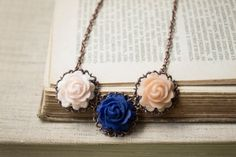 Romantic Polymer Clay Rose Statement Necklace. by sevdacholakova, $27.00
