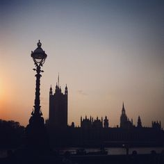 Sunset over the Houses of Parliament, London