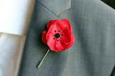 Red Satin flower with Swarovski crystals lapel by Nevestica, $18.00