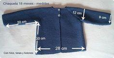 Chaqueta punto bobo para bebé paso a paso (Con hilos, lanas y botones)