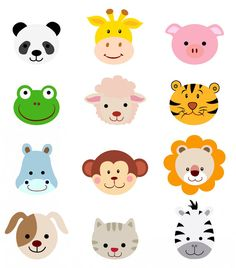 Separately PNG's+vector file! No.93 cartoon animals head faces, 300dpi EPS PNG, clip art, deer, giraffe, zebra, pig, cat, dog, monkey
