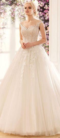 Amazing Tulle & Satin Bateau Neckline A-Line Wedding Dresses With Sequined Lace Appliques