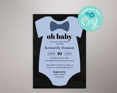 Editable Baby Shower Invitation, Bow tie Invitation, Boy themed baby shower, printable DIY invite, Edit yourself invitation