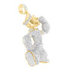Popeye The Sailor Pendant Simulated Diamond 14k Gold Finish