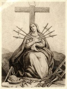 A print of Our Lady of Seven Sorrows with the Arma Christi.