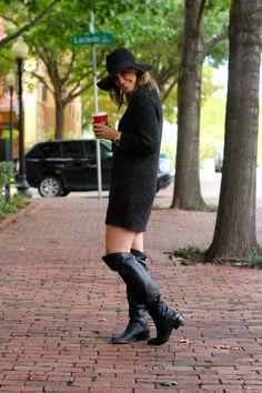 Sweater dress, knee high boots, & cute hat!