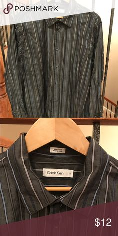 Calvin Klein button up dress shirt. XL Gray with black, navy blue, light blue and taupe stripes. Size XL Calvin Klein Shirts Dress Shirts