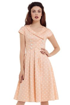 Voodoo Vixen Rockabilly 50's Swing Retro Pin Up Polka Dot Peach Dress (S) -- Awesome products selected by Anna Churchill