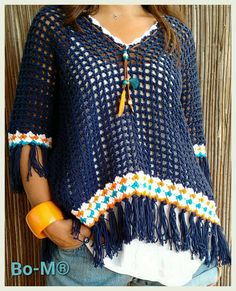 This style and color scheme. Poncho Au Crochet, Crochet Coat, Crochet Blouse, Crochet Clothes, Crochet Lace, Crochet Trim, Pull, Couture, Cocoon Sweater
