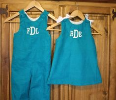 Brother sister matching turquoise corduroy outfits by gigibabies, $75.00