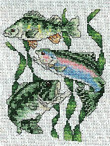 Embroidery Cross Stitches Freshwater Fish Cross Stitch Pattern - Cross stitch this freshwater fish design with metallic braids for a shimmering wet look to the fish. Add these cross stitch fish to a tote for someone who loves fishing. Cross Stitch Needles, Cross Stitch Kits, Cross Stitch Charts, Cross Stitch Designs, Cross Stitch Patterns, Cross Stitching, Cross Stitch Embroidery, Embroidery Patterns, Simple Cross Stitch