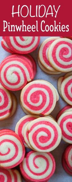 Holiday Pinwheel Cookies are so fun on a cookie tray! Made by rolling with two colors of dough together. Freeze the log of dough for up to a month for slice-and-bake cookies. #cookies #christmas #holiday