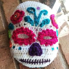 Made another Sugar Skull ski mask!  I really do love making them.  #SugarSkull #DayOfTheDead #Skull #Crochet #Crocheted #Crocheting #SkiMask #Winterwear #Outerwear #Handcrafted #Handmade #QtsyLifeCustomOrders #ShopSmall #QtsyLife #MakersGonnaMake #MakersMovement #Mompreneur #White #Pink #Blue #Purple #Fashion #DiaDelosMuertos