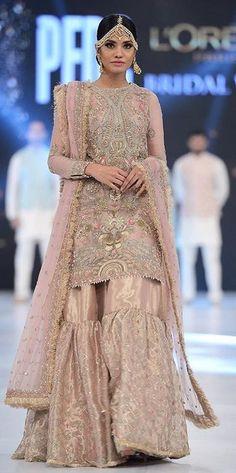 heavily embroidered wedding sharara with medium length shirt Pakistani Bridal Couture, Pakistani Wedding Outfits, Indian Bridal Fashion, Pakistani Dresses, Indian Dresses, Indian Outfits, Pakistani Gharara, Nikkah Dress, Shadi Dresses