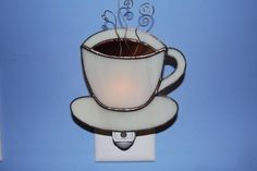 Cup of Joe Stained Glass Coffee Cup Night Light