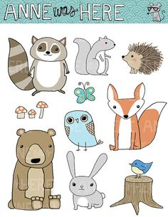 Woodland Critter Doodles Digital Clipart Pack | ¿OBTIENES | 13 imágenes digitales: 8 animales, 1 mariposa, 3 champiñones, 1 tocón. 300 DPI para