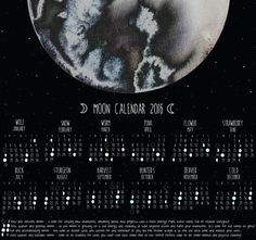 *The calendar in the picture is the A2 format* Moon calendar for 2016, perfect to track the moon phases through the year. Every month has its moon