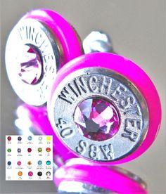 40 S&W Winchester Bullet Earrings CHOICE Swarovski Crystal Silver Nickel O-Ring #BulletVarieties #Stud