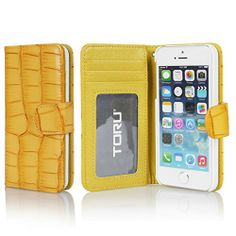 TORU® [Yellow] iPhone 5S Case Wallet [Flip] [Stand Feature] [Crocodile] Wallet Case with ID Credit Card Slots for iPhone 5 / iPhone 5S - Yellow (115PCACW2) TORU http://smile.amazon.com/dp/B00KMQ7DRA/ref=cm_sw_r_pi_dp_cpkMtb09C4SJT1WM