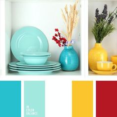 Color Palette Bright blue and yellow always go well together, creating a very pleasant contrast. These colors can be safely applied in decoration of any room, while red. Wall Colors, House Colors, Accent Colors, Kitchen Colour Schemes, Red Color Schemes, Color Balance, Home And Deco, Bathroom Colors, Bathroom Ideas