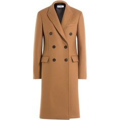 Jil Sander Coat (€2.230) ❤ liked on Polyvore featuring outerwear, coats, camel, double breasted woolen coat, slim fit coat, wool coat, beige coat and beige wool coat