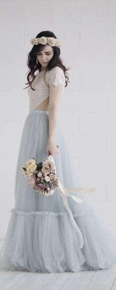 Dolores - bohemian wedding dress / boho bridal gown / rustic wedding gown / country bridal gown / bridal separates / two piece wedding dress