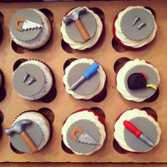 Handyman Cupcakes - Cupcakes for a Handyman/Tool buff's Birthday! Vanilla bean with oreo buttercream and red velvet with cream cheese all topped with hand crafted fondant and gum paste tool toppers :)