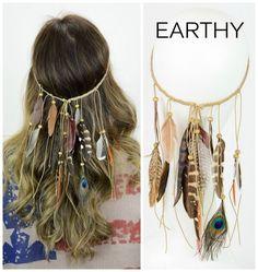 Boho Boutique Earthy Feather Headband
