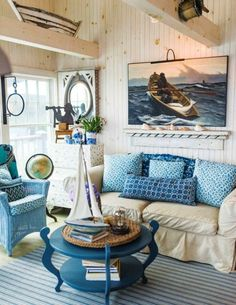 Rustic Maine Seaside Cottage Living Room. Featured on Completely Coastal: http://www.completely-coastal.com/2017/07/rustic-maine-seaside-cottage-interiors.html