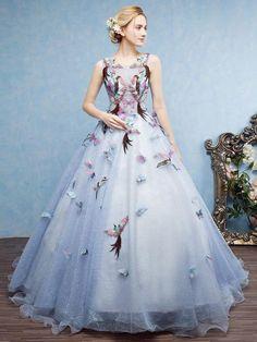 Chic Ball Gown Prom Dress Scoop Floor Length Applique Prom Dress Evening Dress AM956