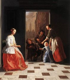 Street Musicians at the Doorway of a House - Jacob Ochtervelt (1665)