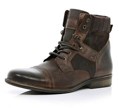 River Island MensDark brown contrast panel military boots on shopstyle.com