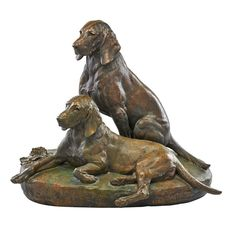 Bronze sculpture of two dogsSigned on base with foundry stamp: Cire Perdue de Leblanc-Barbedienne and Fils, Paris