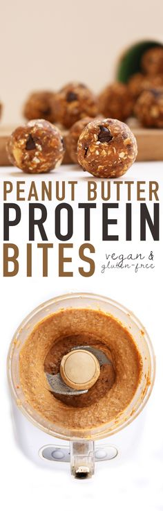 These vegan and gluten-free Peanut Butter Protein Bites are filled with healthy sugars and proteins for the perfect pick-me-up snack food.