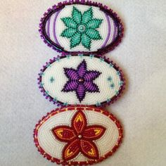 Small #beaded #barrettes #flowers #beadwork #alaskan #athabascan #native #livmariebeads #beaduniverse