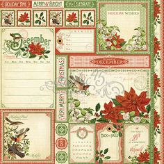 Graphic 45 - Time to Flourish Collection - 12 x 12 Double Sided Paper - December Cut Apart Graphic 45, Graphic Design, Scrapbook Paper Crafts, Scrapbook Supplies, Scrapbooking, Scrapbook Kit, Paper Crafting, Shabby, Christmas Gift Tags