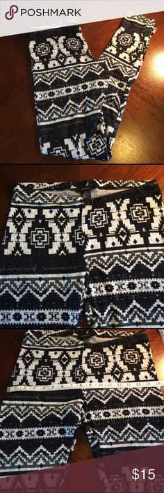 """Juniors black and white tribal leggings Juniors black and white leggings. They are thinner and super soft with a cute tribal print. Material is 97% polyester 3% spandex. They are boutique however wholesaler did not tag them so they do not have a store tag but are still brand new never worn or sold in store  Measurements for size large are hip width: 32"""" thigh: 20"""" waist: 29"""" length: 37"""" medium hip width: 30"""" thigh: 20"""" waist: 26"""" length: 36 1/2"""" small hip width: 29"""" thigh: 20"""" waist: 24""""…"""