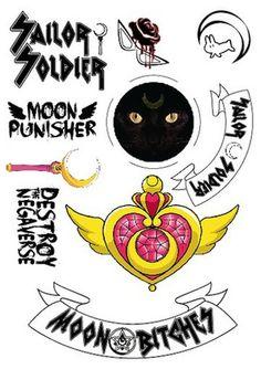 sailor moon tattoos in the style of a biker gang. @Catherine Garofali